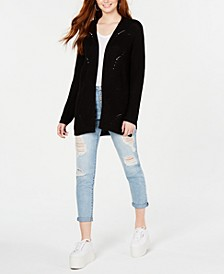Juniors' X-Back Pointelle Cardigan