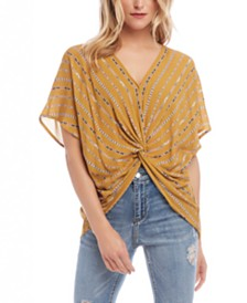 Karen Kane Printed Twist-Front Top