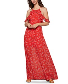 BCBGeneration Ruffled Cold-Shoulder Maxi Dress