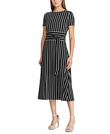 Stripe-Print Belted Jersey Dress