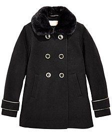 Big Girls Faux-Fur-Collar Dress Coat