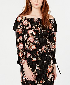 Juniors' Printed Off-The-Shoulder Top, Created for Macy's