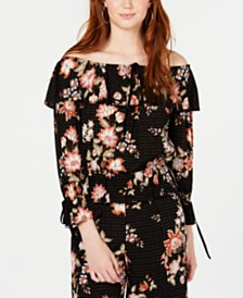 American Rag Juniors' Printed Off-The-Shoulder Top, Created for Macy's
