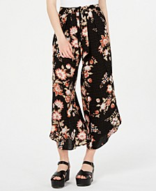 Juniors' Floral-Print Flyaway Soft Ankle Pants, Created for Macy's