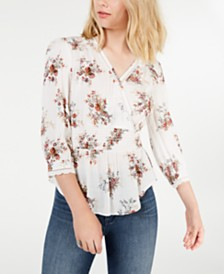 American Rag Juniors' Printed Surplice-Neck Top, Created for Macy's