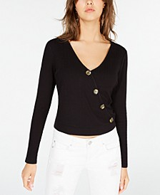 Juniors' Button-Detail Faux-Wrap Top, Created for Macy's
