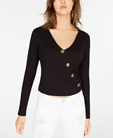 American Rag Juniors' Button-Detail Faux-Wrap Top, Created for Macy's