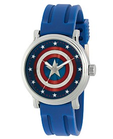 EwatchFactory Men's Marvel's Classic Captain America Blue Strap Watch 44mm