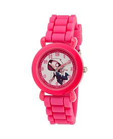 Girl's Marvel's Super Hero Adventure Spider-Gwen Pink Plastic Time Teacher Strap Watch 32mm
