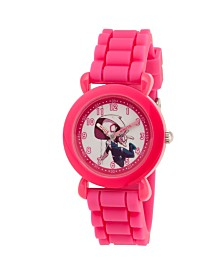 EwatchFactory Girl's Marvel's Super Hero Adventure Spider-Gwen Pink Plastic Time Teacher Strap Watch 32mm