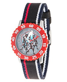 EwatchFactory Boy's Marvel Avengers Endgame Hulk, Captain America, Rocket Raccoon, Iron Man, Nebula, Ant- Man Black Stainless Steel Time Teacher Strap Watch 32mm
