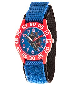 EwatchFactory Boy's Marvel Avengers Endgame Hulk, Captain Marvel, Captain America,Thor, Iron Man, Rocket Raccoon Blue Plastic Time Teacher Strap Watch 32mm
