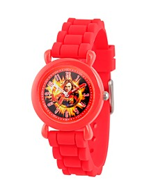 EwatchFactory Girl's Marvel Avengers Endgame Captain Marvel Red Plastic Time Teacher Strap Watch 32mm