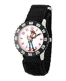 Boy's Disney Toy Story 4 Woody Black Stainless Steel Time Teacher Strap Watch 32mm