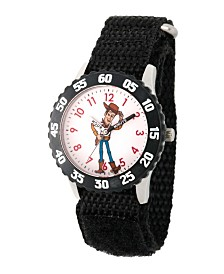 EwatchFactory Boy's Disney Toy Story 4 Woody Black Stainless Steel Time Teacher Strap Watch 32mm