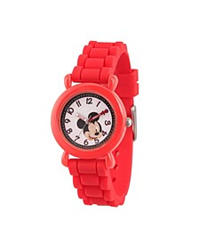 Boy's Disney Mickey Mouse Red Plastic Time Teacher Strap Watch 32mm