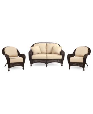 Monterey Outdoor Wicker 3-Pc. Seating Set with Sunbrella® Cushions  (1 Loveseat and 2 Club Chairs), Created for Macy's