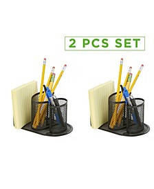 2 Pc Mesh Pencil Cup Desk Organizer