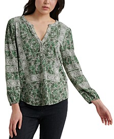 Cotton Printed Henley Top