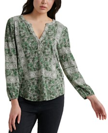 Lucky Brand Cotton Printed Henley Top