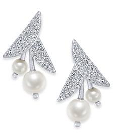 Silver-Tone Pavé & Imitation Pearl Flower Drop Earrings