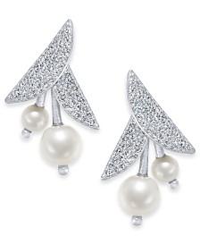 Kate Spade New York Silver-Tone Pavé & Imitation Pearl Flower Drop Earrings