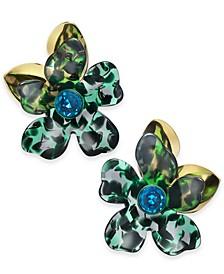 Gold-Tone Pavé Flower Statement Stud Earrings