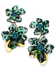 Gold-Tone Pavé Flower Statement Earrings