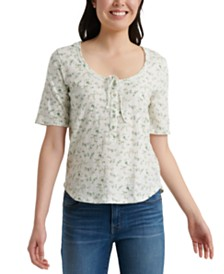 Lucky Brand Cotton Floral-Print Tie-Neck Top