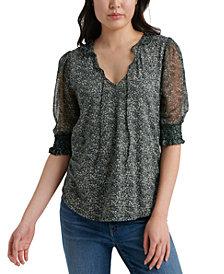 Lucky Brand Printed Sheer-Sleeve Top