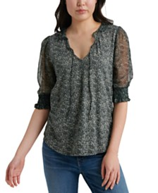 Lucky Brand Printed Sheer-Sleeve Top