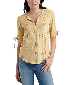 Floral Drawstring Sleeve Top