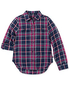 Big Girls Button-Front Plaid Shirt