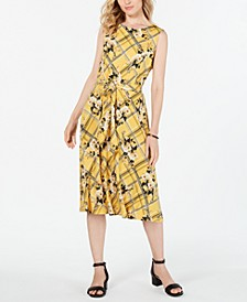 Belted Mixed-Print Dress, Created for Macy's