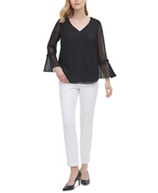 Calvin Klein Sheer Bell-Sleeve Blouse