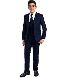 Big Boy's 5-Piece Shirt, Tie, Jacket, Vest and Pants Solid Suit Set