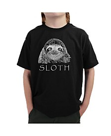 LA Pop Art Big Boy's Word Art T-Shirt - Sloth