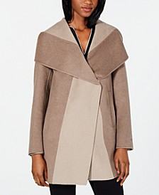 Colorblocked Wrap Coat