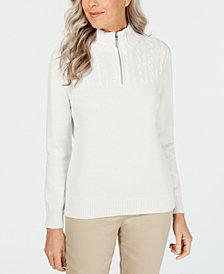 Karen Scott Zip-Neck Cotton Sweater, Created for Macy's