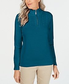 Petite Cotton Mock-Neck Pullover, Created for Macy's