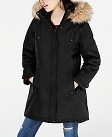 Juniors' Hooded Faux-Fur-Trim Parka
