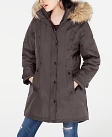 Madden Girl Juniors' Hooded Faux-Fur-Trim Parka