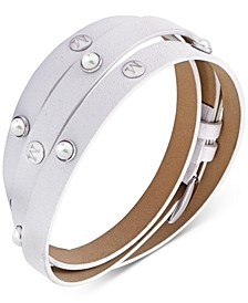 Stainless Steel Imitation Pearl Leather Wrap Bracelet