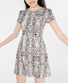 City Studios Juniors' Snake-Print T-Shirt Dress