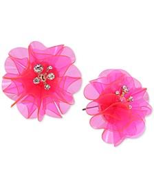 Gold-Tone Crystal Flower Button Earrings