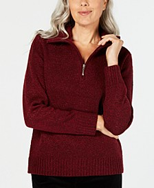 Wing-Collar Zip-Neck Sweater, Created for Macy's