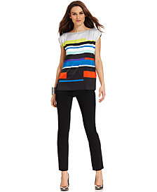 Vince Camuto Cap-Sleeve Striped Top & Skinny Ankle Pants