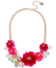 "Betsey Johnson Rose Gold-Tone Crystal Flower Statement Necklace, 16"" + 3"" extender"