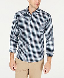 Men's Slim-Fit Stretch Micro-Plaid Shirt