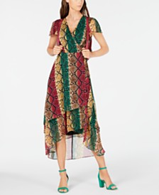 I.N.C. Snake-Embossed Wrap Dress, Created for Macy's
